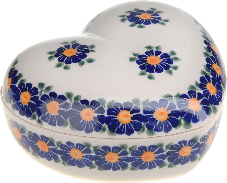 Classic Boleslawiec Pottery Hand Painted Ceramic Heart Shaped Bowl 0.3 litre 124-U-018