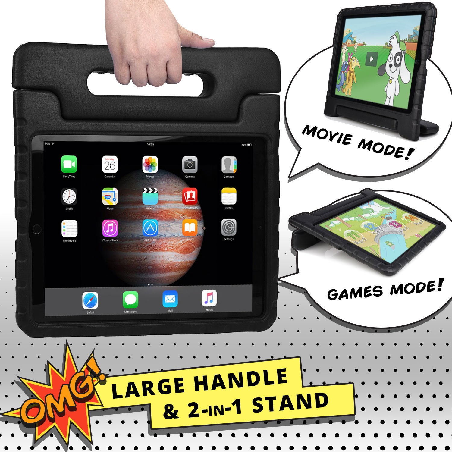 COOPER DYNAMO Shock Proof Kids case compatible with iPad Pro 12.9 | Heavy Duty Kidproof Cover for Kids | Girls, Boys, School | Kid Friendly Handle & Stand, Screen Protector | Apple A1584 A1652 (Black) by Cooper Cases (Image #7)