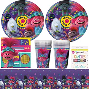 BashBox DreamWorks Trolls Birthday Party Supplies Pack Including Plates, Cups, Napkins, Tablecover (16 Guests) Plus BONUS Candles