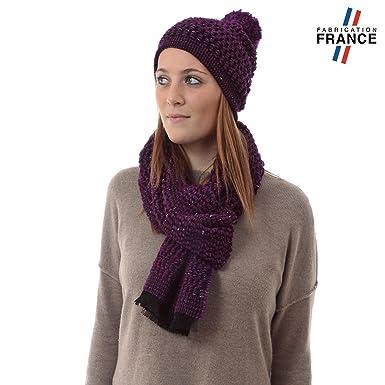 Qualicoq Echarpe et Bonnet CANCALE Violet - Fabriqué en France ... 5d3d75afac3