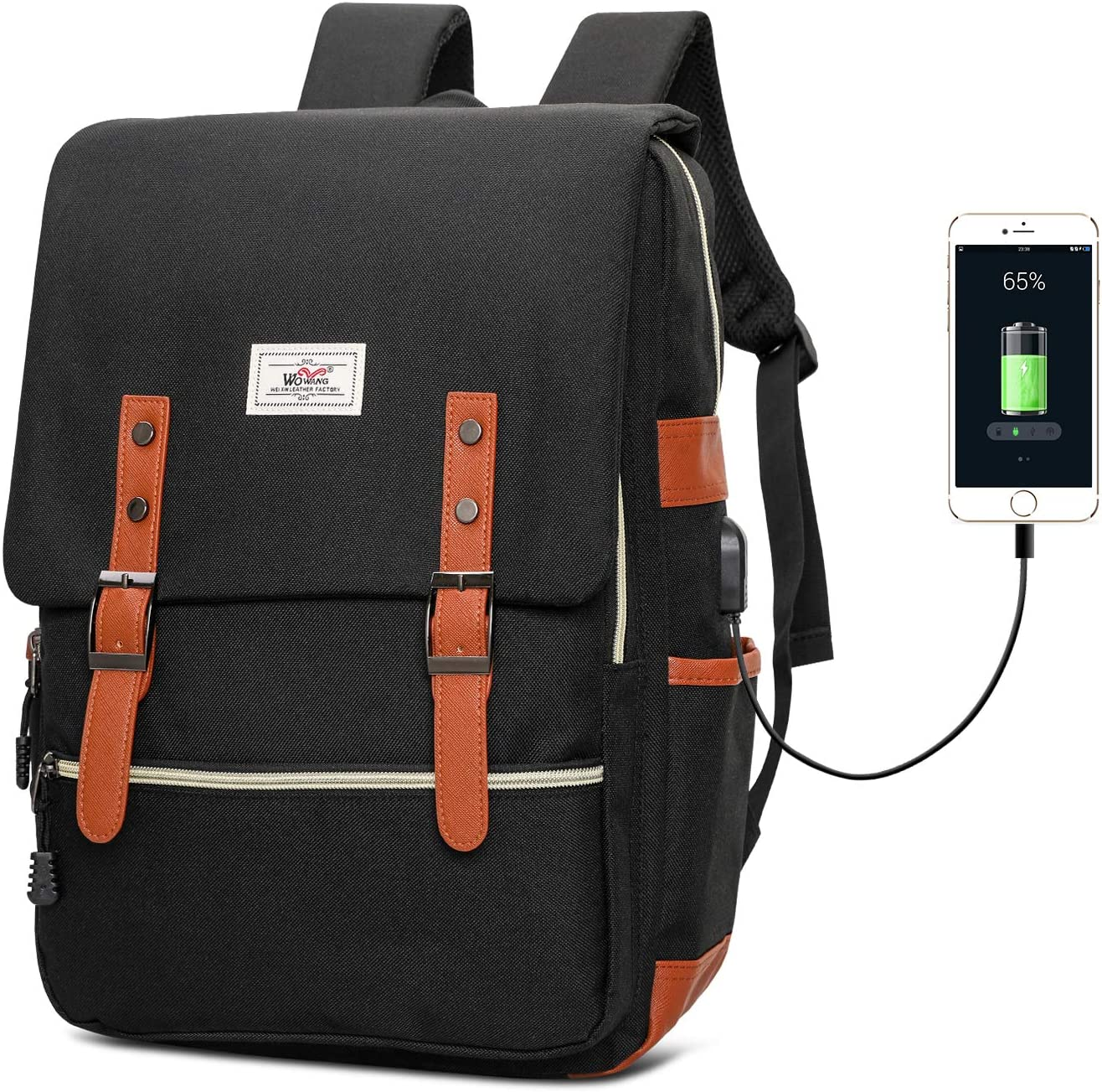 Vintage Laptop Backpack for Men Women, Unisex Fashion School College Rucksack, Water Resistant Business Travel Backpack with USB Charging Port Fits 15.6 Inch Laptop