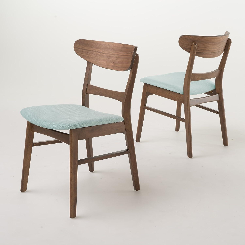 Christopher Knight Home 298970 Idalia Walnut Finish Dining Chair (Set of 2), Mint
