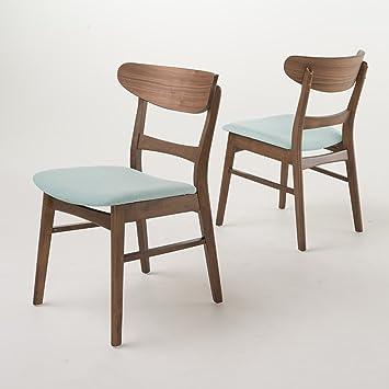 Helen Mid Century Modern Dining Chair (Set Of 2) (Mint W/ Walnut