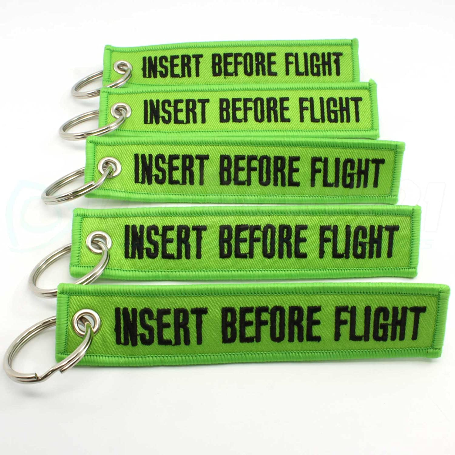 Insert Before Flight Keychain - Lime Green/Black 5pcs
