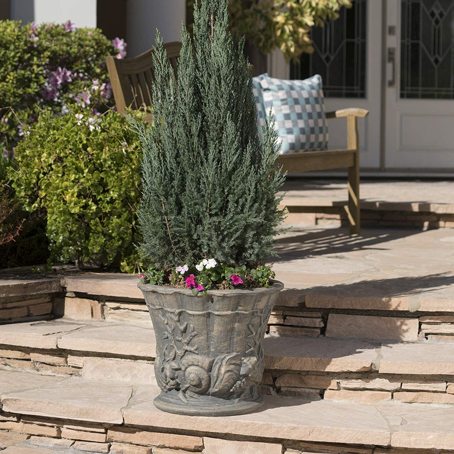 Christopher Knight Home 304064 Fern Outdoor Antique Grey Finish Light Weight Concrete Urn