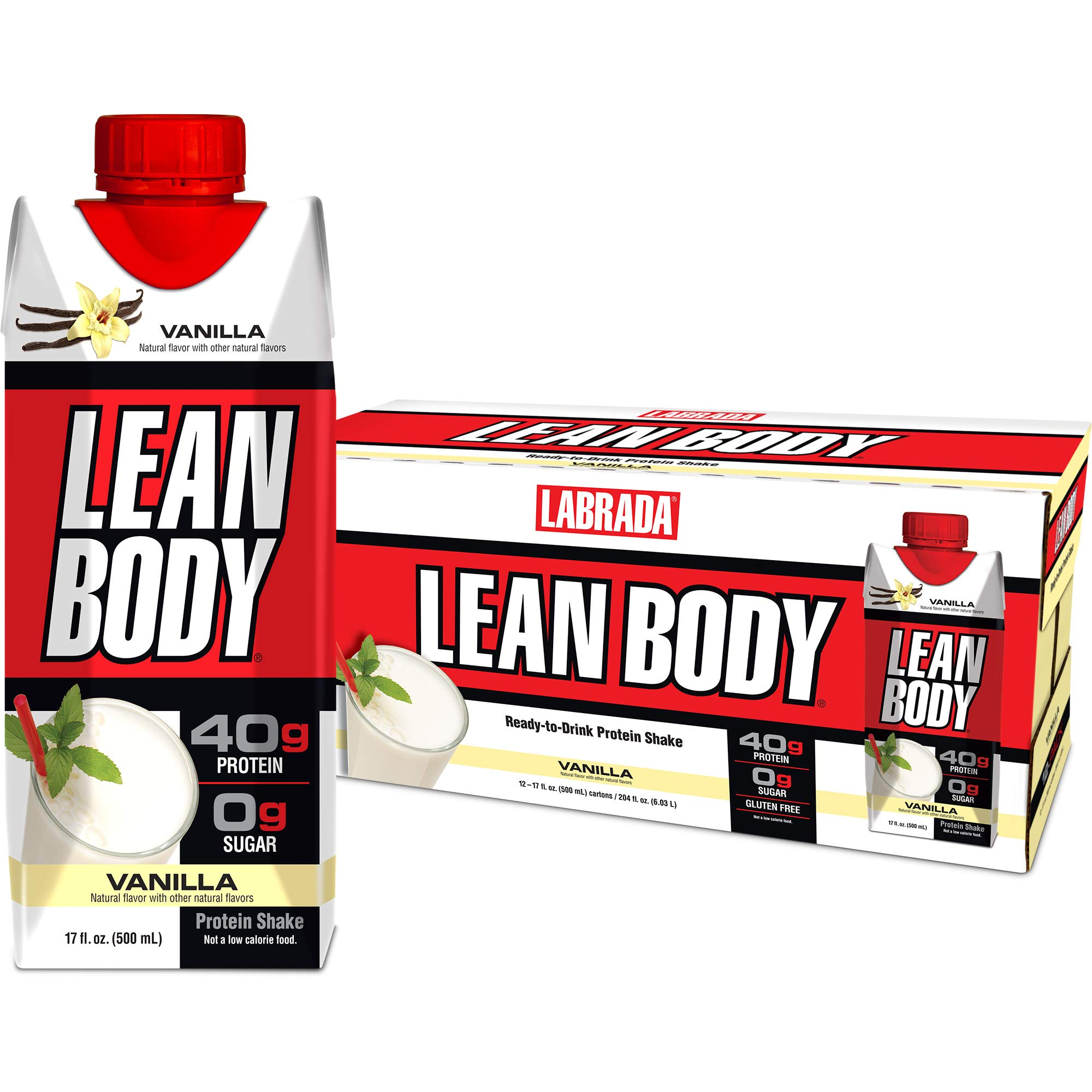LABRADA - Lean Body Ready To Drink Whey Protein Shake, Convenient On-The-Go Meal Replacement Shake for Men & Women, 40 grams of Protein - Zero Sugar, Lactose & Gluten Free, Vanilla (Pack of 12) by Labrada