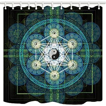 Nyngei Chinesischer Stil Vorhang Für Die Dusche Von Schwanz Chi Disk Zen  Türkis Badezimmer Polyester