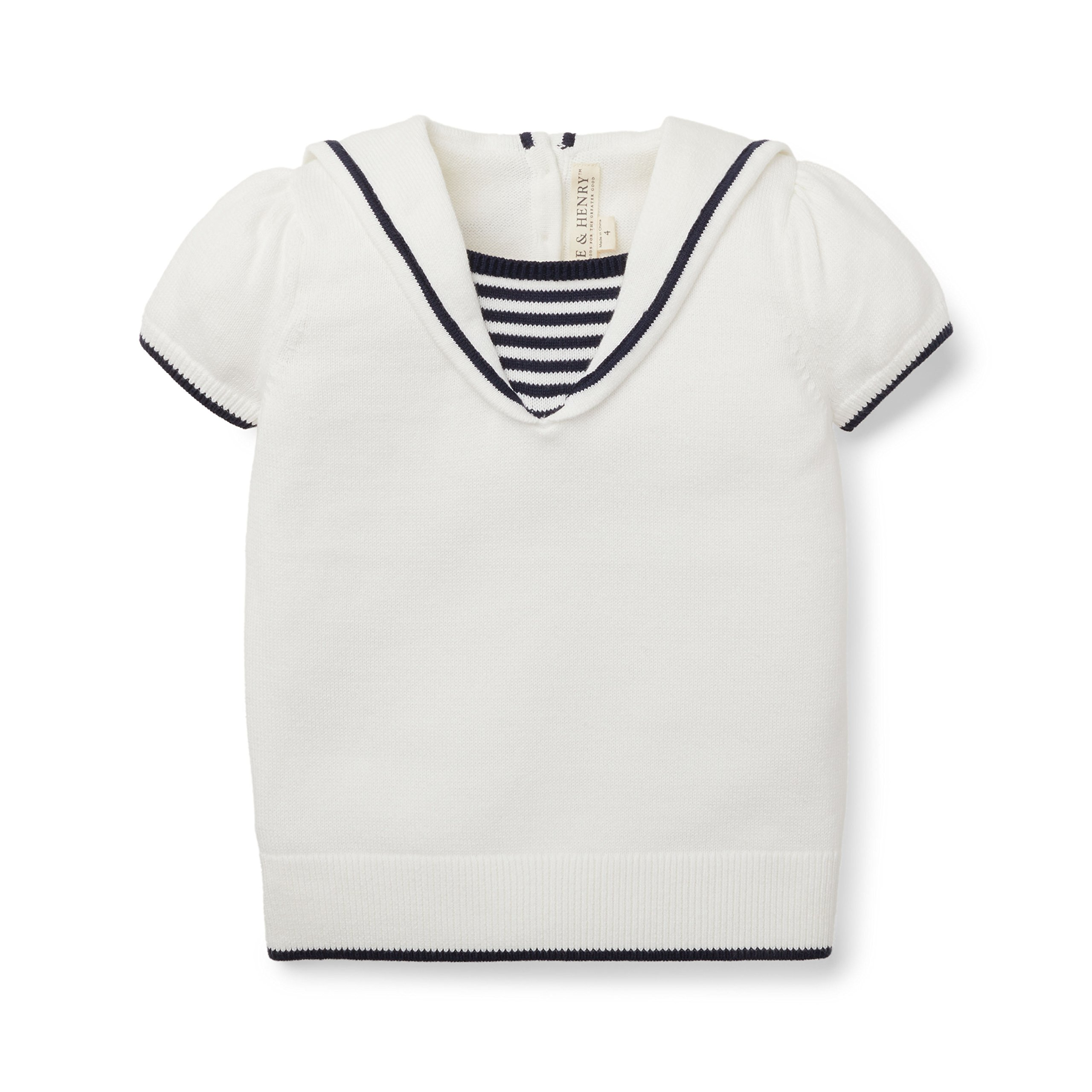 Hope and Henry Girls White Sailor Sweater Top Made With Organic Cotton by Hope & Henry (Image #1)