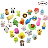 Easter Day Gifts, 30 Pack Premium Novelty Animal Erasers Collectible Set of Adorable Japanese Style, Amazing Variety with No Duplicates, Best Puzzle Toys for Kids Party (Animal Erasers 30 Pack)