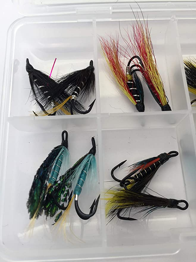 FREE 1st post 4 x SALMON Fishing flies Double ALLY/'S RED SHRIMP 10,12.Two each
