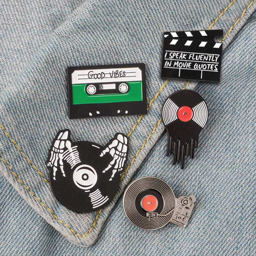 QIHOO Fashion Enamel Lapel Pins Sets Cartoon Animal Fruits Punk Music Lovers Brooches Pin Badges for Clothing Bags Backpacks Jackets Hat DIY
