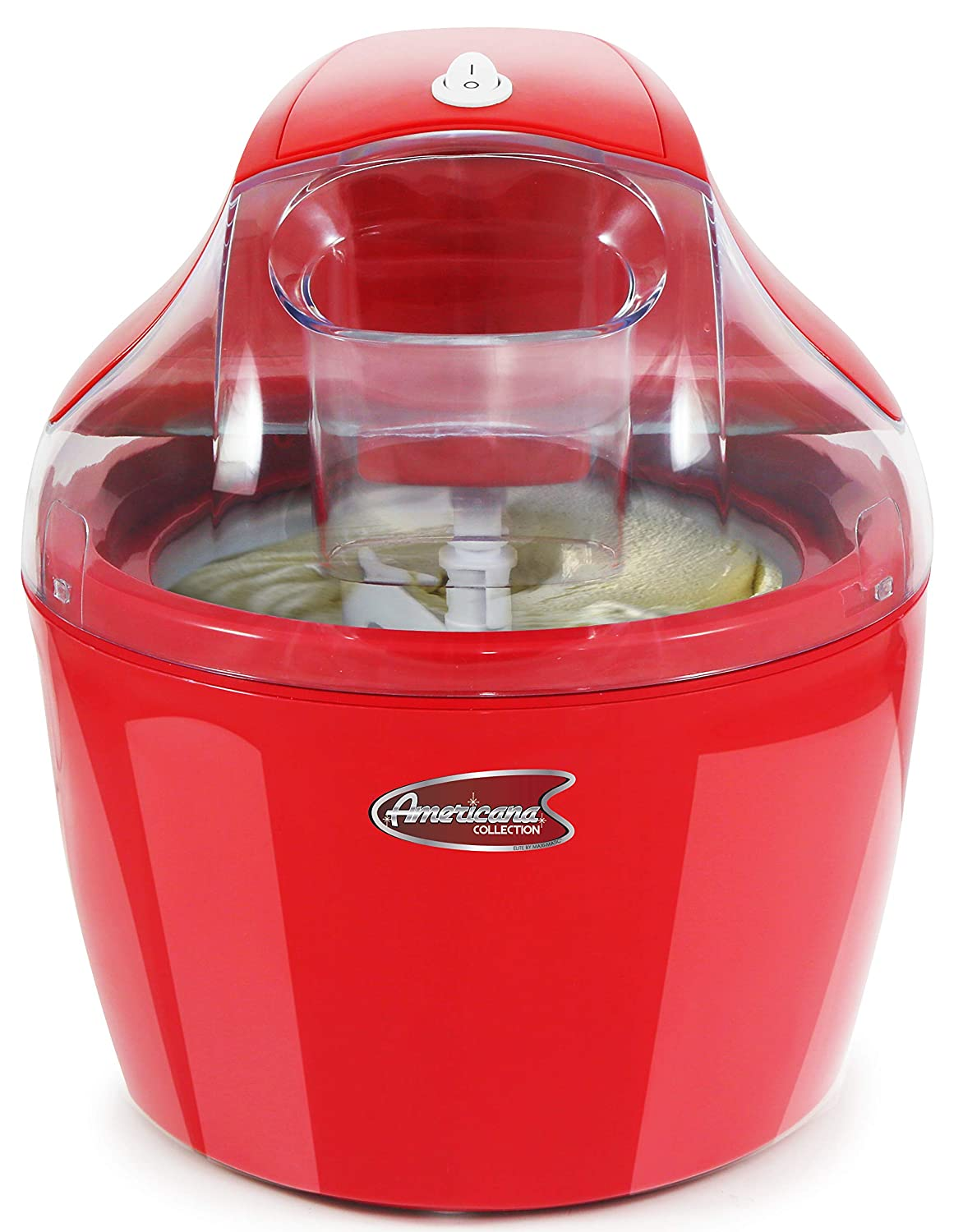Maxi Matic EIM-1400R Ice Cream Maker with with Quick Freeze Bowl, 1.5 quart, Red