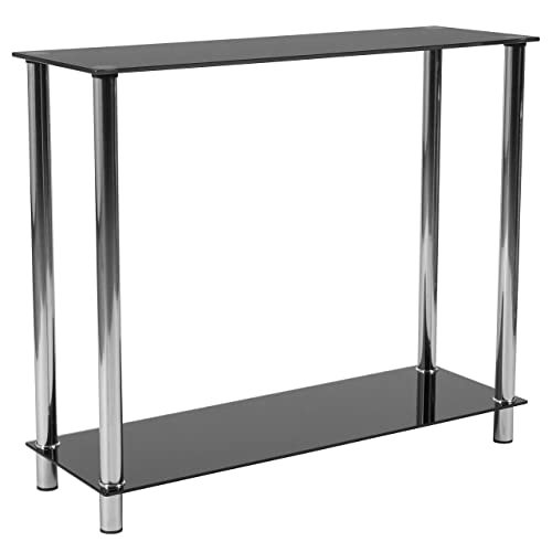 Flash Furniture Riverside Collection Black Glass Console Table with Shelves and Stainless Steel Frame – HG-112350-GG