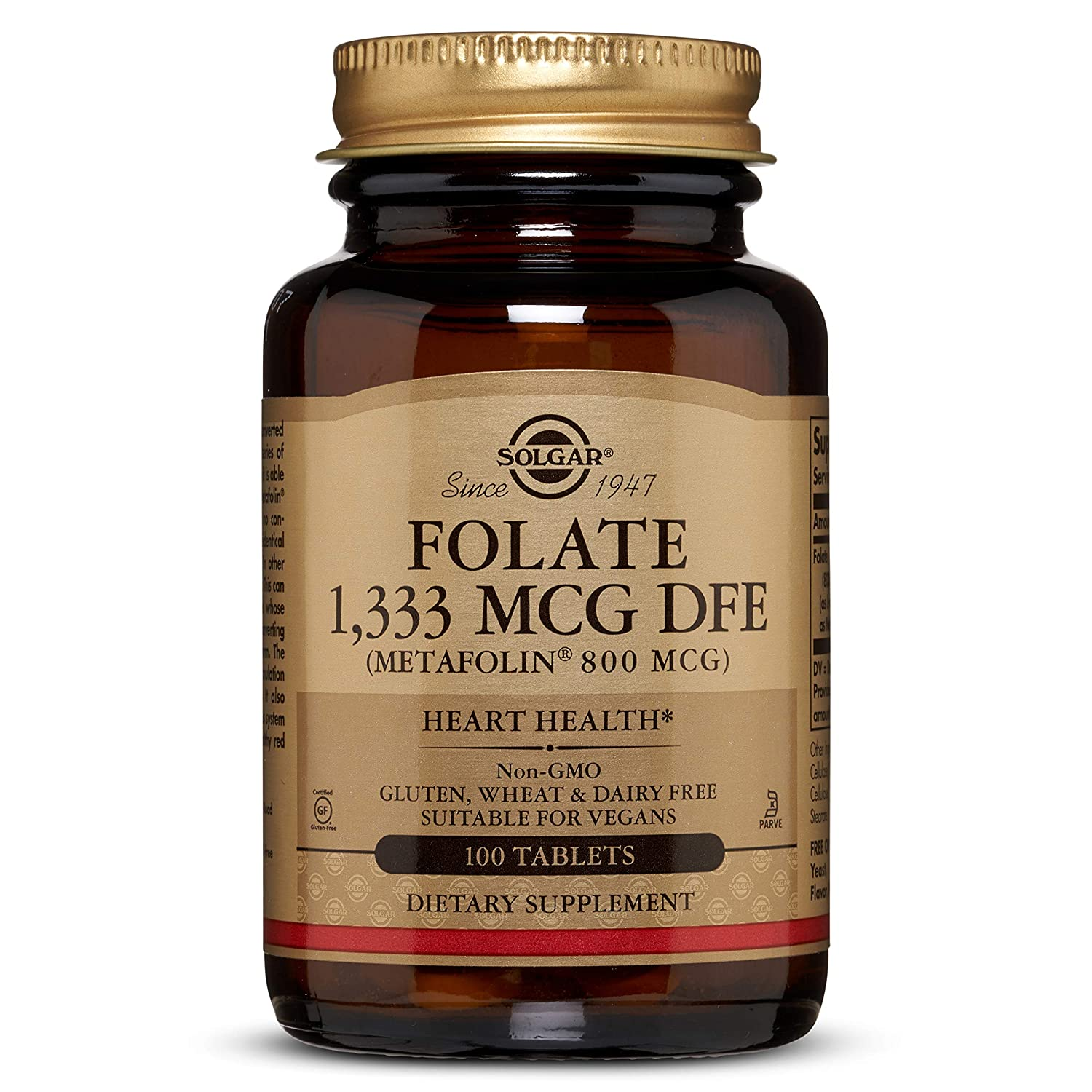 Folate 1,333 MCG DFE Metafolin 800 mcg Tablets – 100 Count – 2 Pack