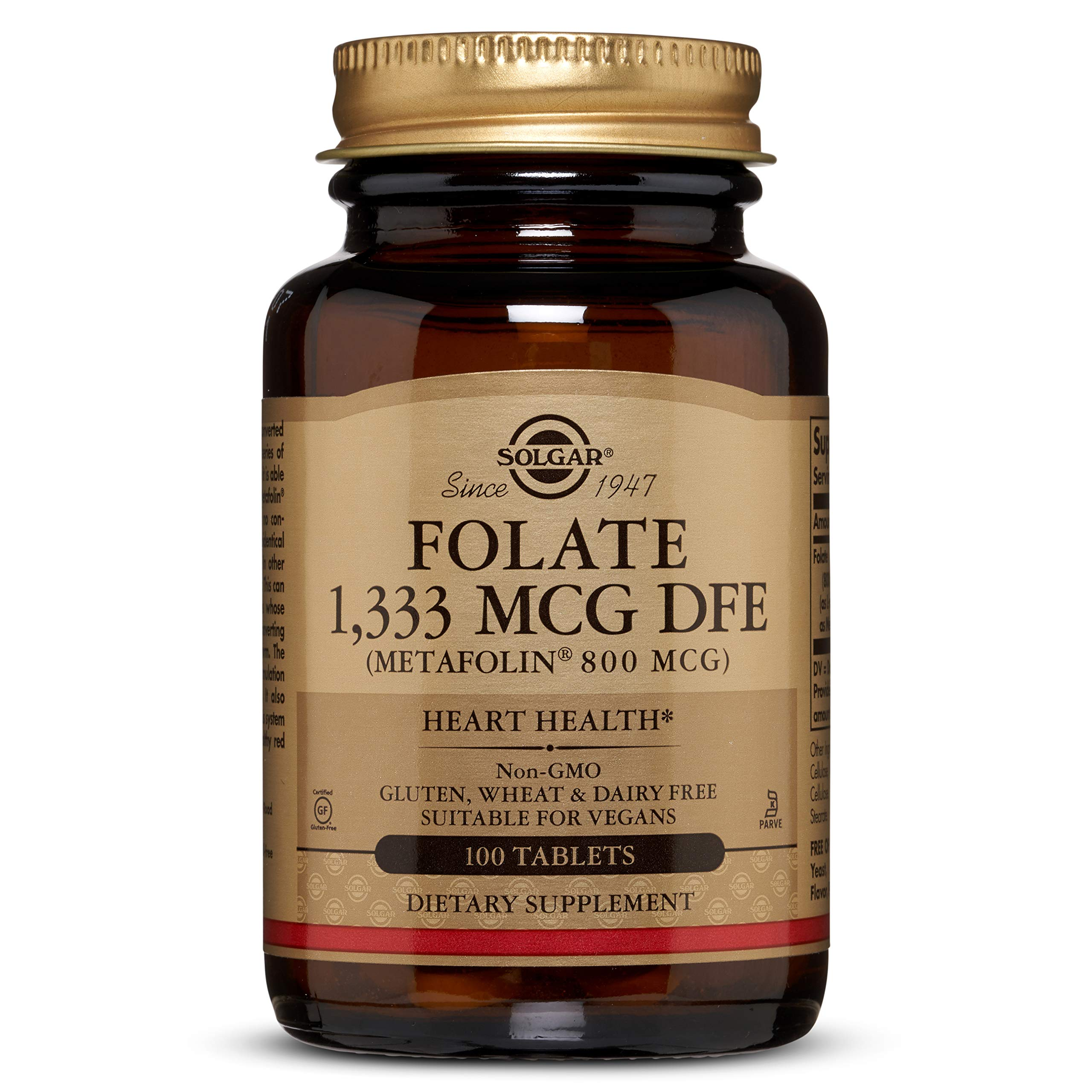 Folate 1,333 MCG DFE (Metafolin® 800 mcg) Tablets - 100 Count - 2 Pack by Solgar