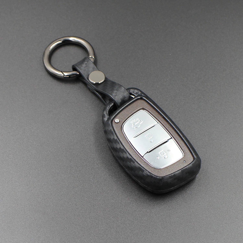 Jvisun morbida in silicone in fibra di carbonio texture modello di schermo per Hyundai portachiavi auto chiave in custodia per Hyundai Verna Mistra Style Elantra Sonata 9/Tucson IX25/IX35 Nero m