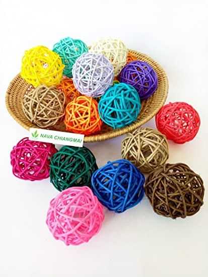 Amazon NAVA CHIANGMAI 40 Pcs Decorative Balls Rattan Balls Impressive Rattan Decorative Balls