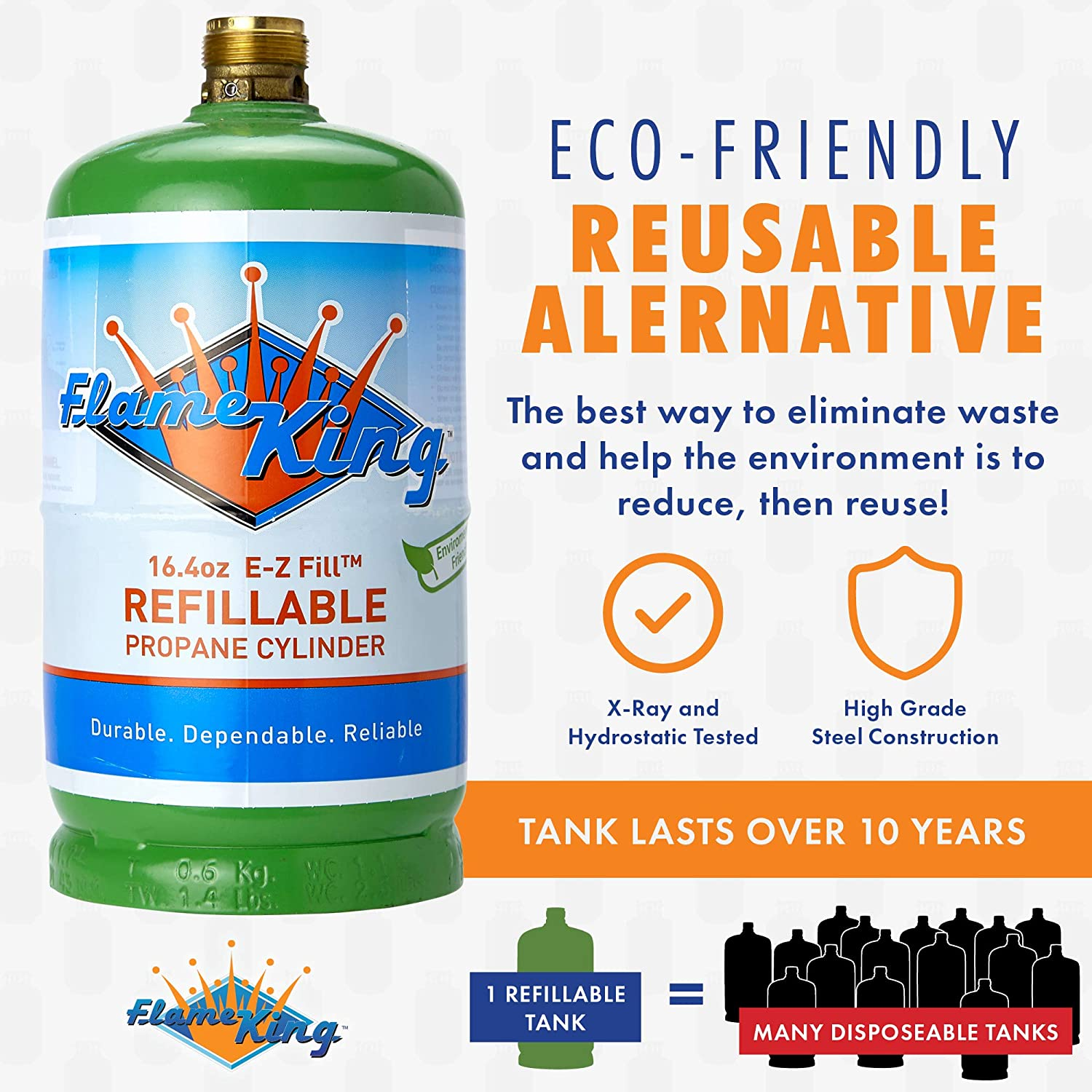 Propane Cylinder 1 lb Refillable And Transportable Eco-Friendly With Carry Cap