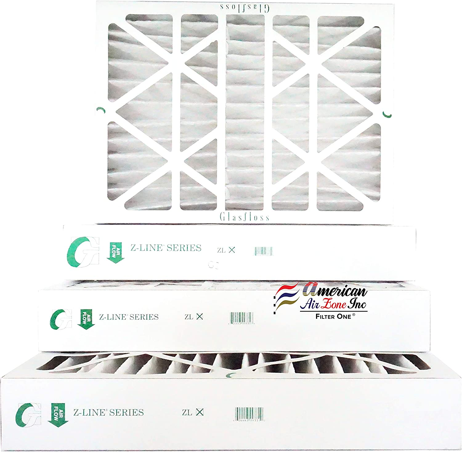 Proudly Made In The USA. Pack of 6 Glasfloss 20x25x4 MERV 10 Pleated AC Furnace Filter-
