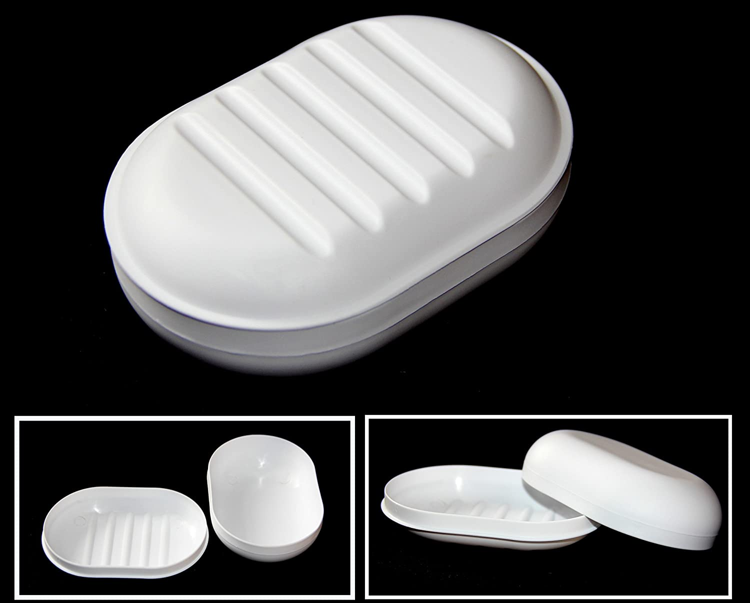 1 ALAZCO Travel Soap Dish Large Oval Container Box Case White Great for Home School Gym