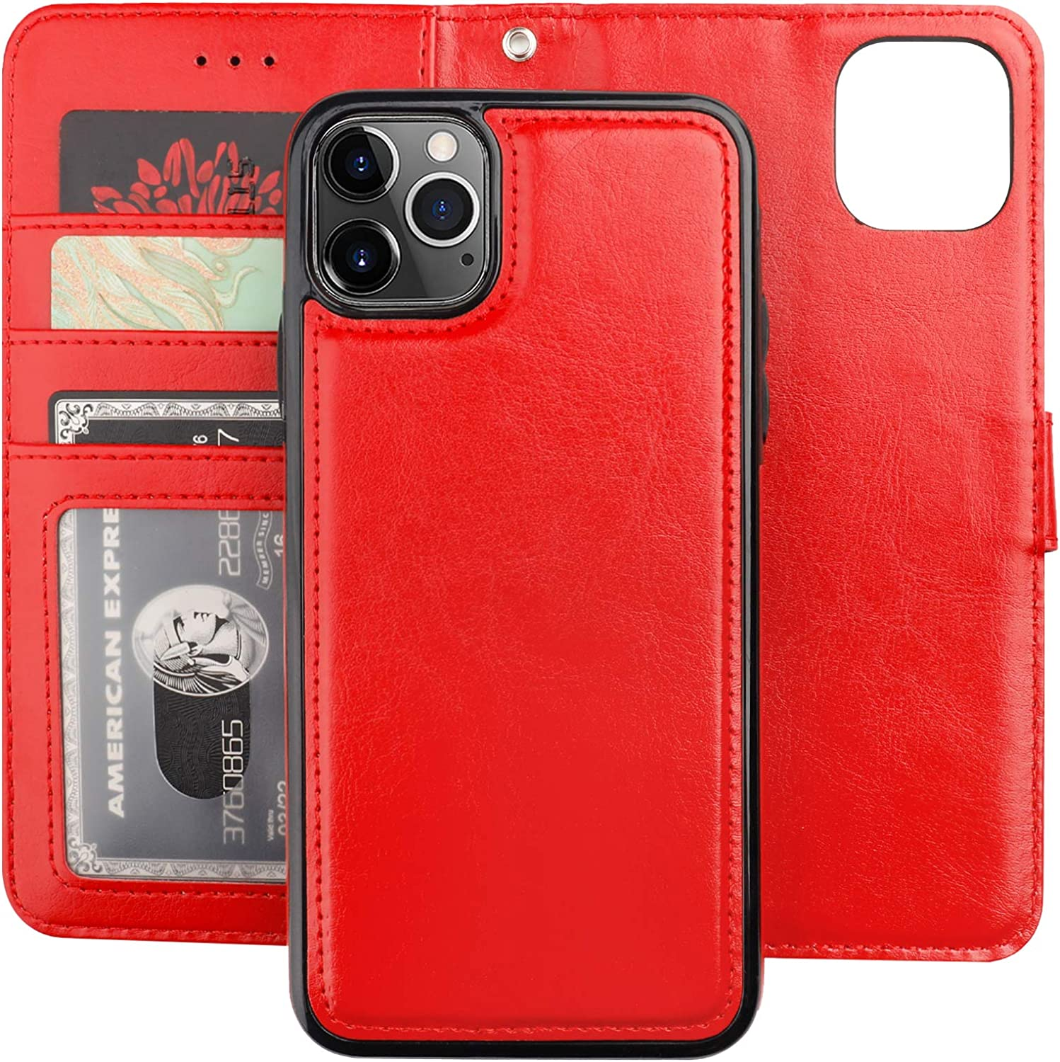 Bocasal iPhone 11 Pro Max Wallet Case with Card Holder PU Leather Magnetic Detachable Kickstand Shockproof Wrist Strap Removable Flip Cover for iPhone 11 Pro Max 6.5 inch (Red)