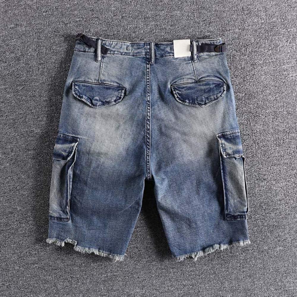YUFUFU shorts Summer overalls men's jeans short trouser shorts Blue
