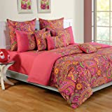 Swayam Colors of Life Printed Cotton Bedsheet with 2 Pillow Covers - King Size, Multicolor (DBS XL-2407)