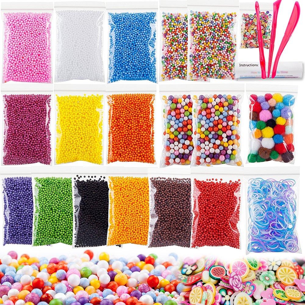 Kit para slime: 16 bolsas perlas, 1 paquete pom poms, etc