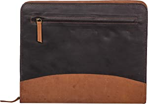 The Leather Warehouse Zipper Padfolio / Portfolio Resume Folder Men Women With A4 Size Pocket Interview Legal Document Organiser - Black and Brown