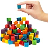 Small Square Wood Craft Cube Blocks (6 Colors, 0.6 x 0.6 x 0.6 In, 100 Pieces)