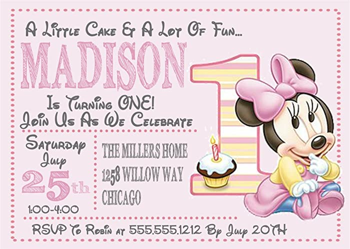 Image Unavailable. Image not available for. Color: Minnie Mouse 1st Birthday Party Invitations