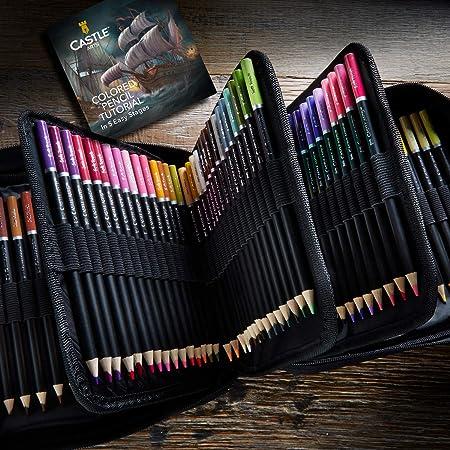 Castle Art Supplies - Set de 120 piezas de lápices de colores con cremallera para todos los artistas Colores de calidad y lápices de colores de alta calidad para mezclar y estuche