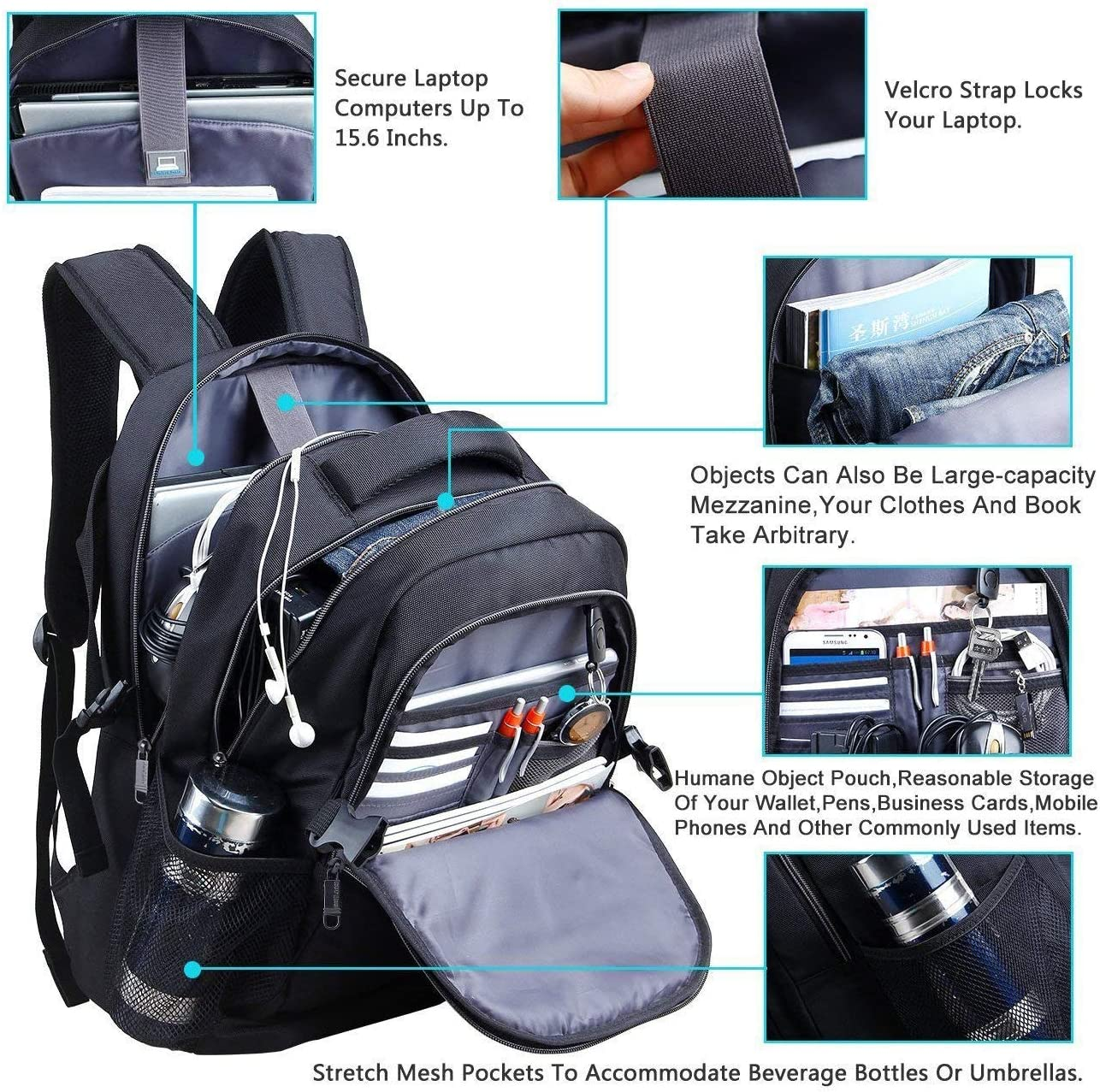 OUTJOY Travel Waterproof Laptop Backpack 17 Inch