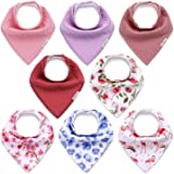 KiddyCare Baby Bibs for Girls 8 Pack - 100% Organic Cotton for Drooling and Teething - Soft & Absorbent Bandana Drool Bibs fo