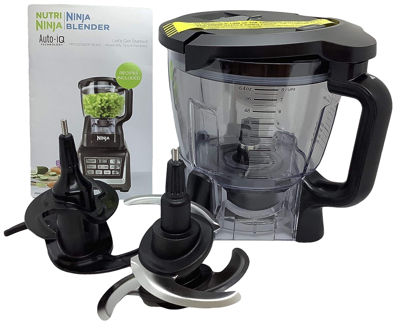 Ninja 64oz (8 Cup) Food Processor Bowl Locking Lid Blade Kit Only for BL640 BL641 BL642 BL680 BL682 Blender Duo Auto iQ