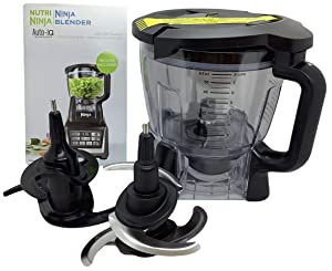 Ninja 64oz (8 Cup) Food Processor Bowl Locking Lid Blade Kit Only for BL640 BL641 BL642 BL680 BL682 Blender Duo Auto iQ