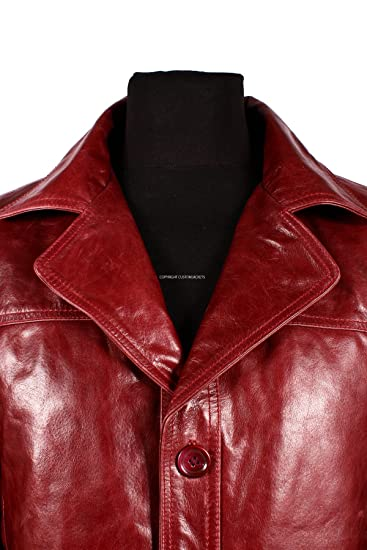 Men/'s FIGHT CLUB Burgundy Cherry Red Glazed Reefer Coat Real Leather Film Jacket