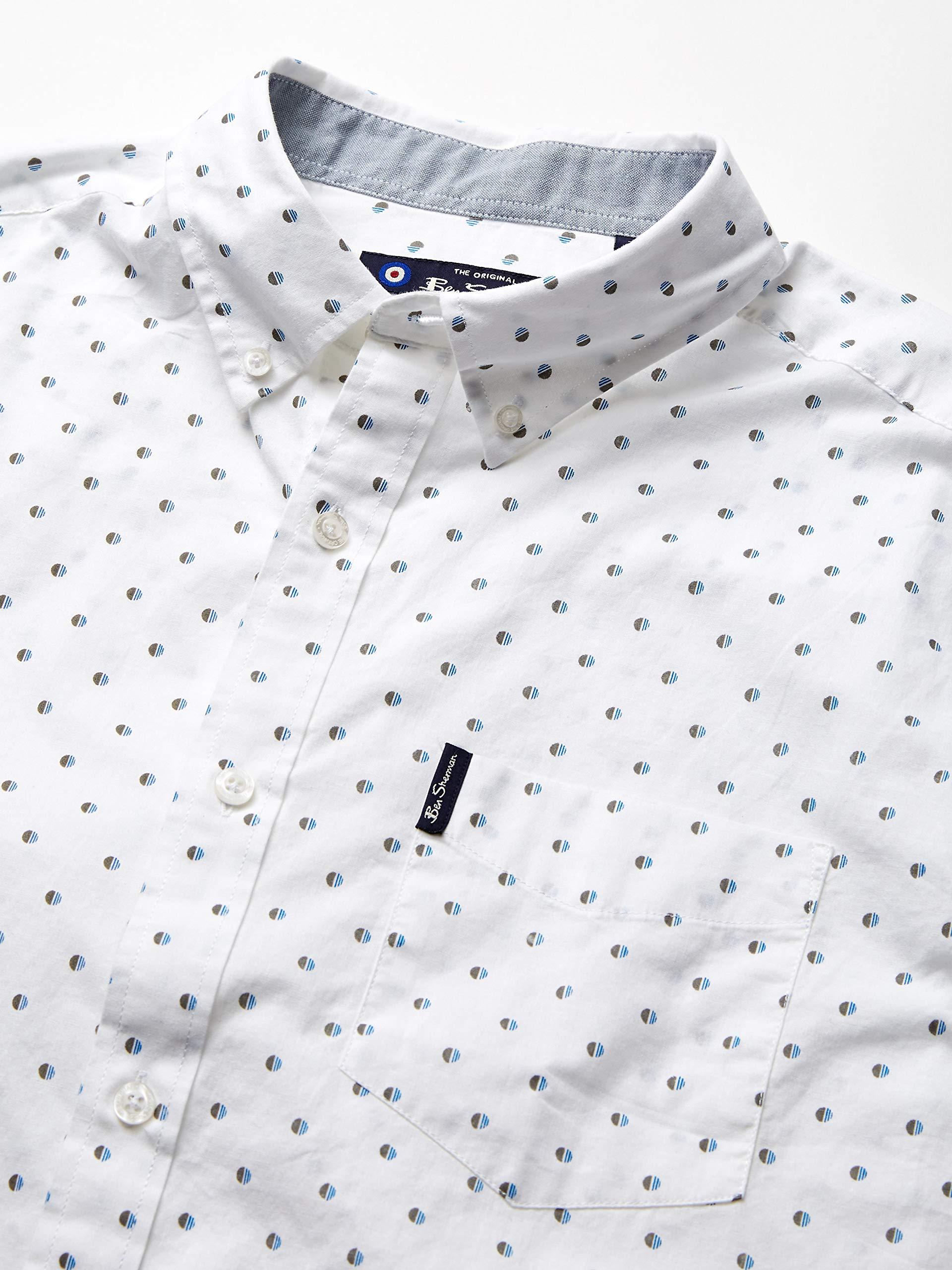 Ben-Sherman-Men-039-s-SS-SPT-Stripe-Print-Shirt-Tawny-Choose-SZ-color thumbnail 7