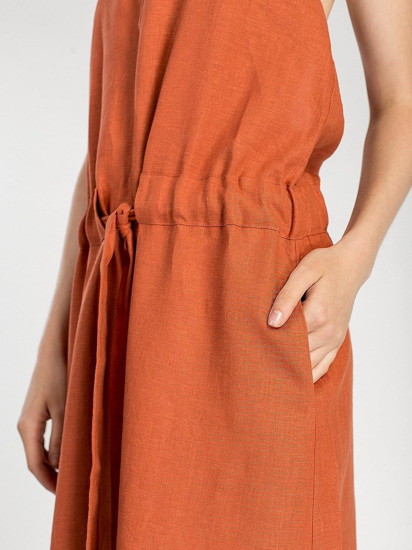 b86e7073cf5 ETNODIM Woman Natural Ukrainian Linen Dress Sarafan Without Sleeves Orange  Long Casual Dress Sleeveless at Amazon Women s Clothing store