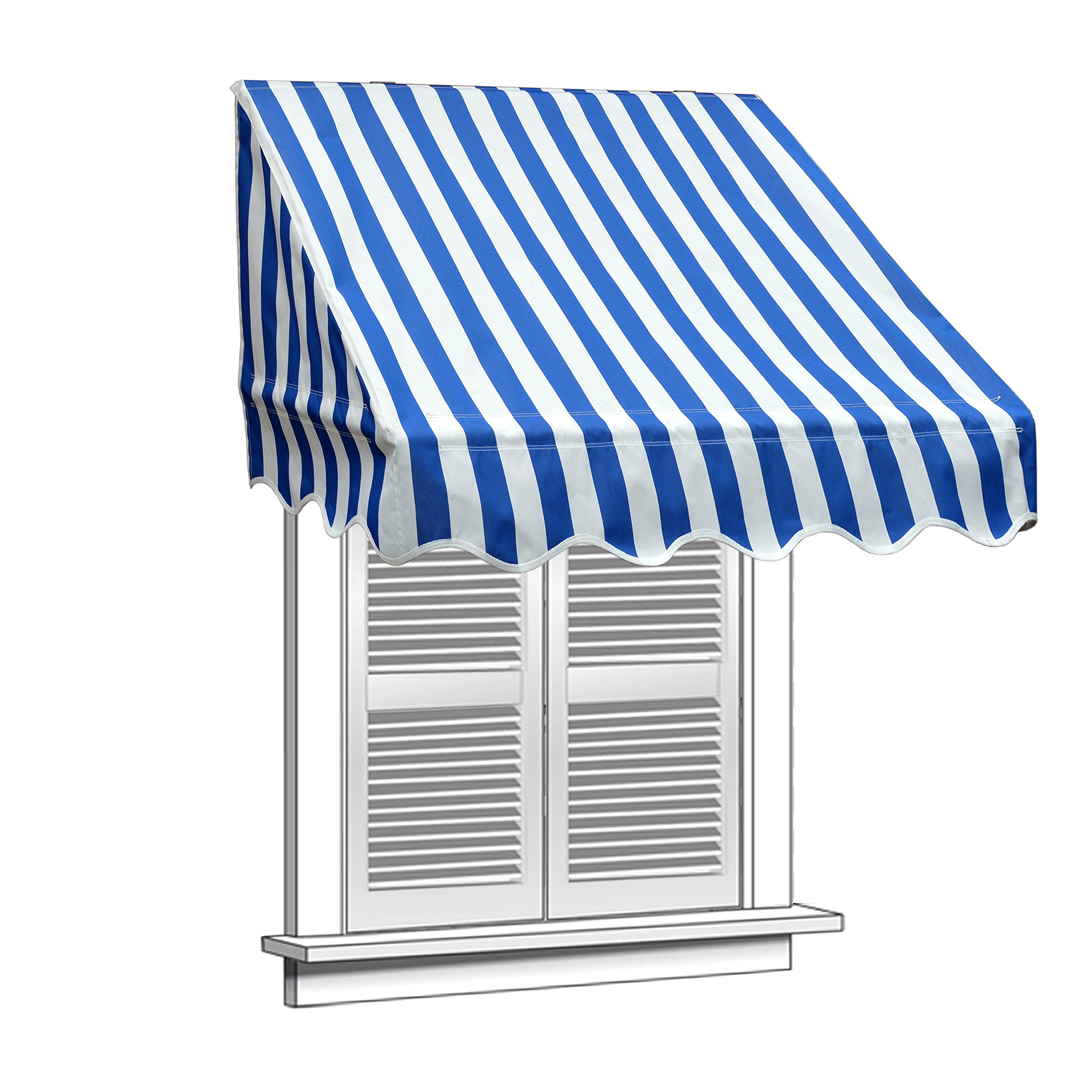 ALEKO 4x2 Feet Blue/White Stripe Window Awning Door Canopy 4-Foot Decorator Awning