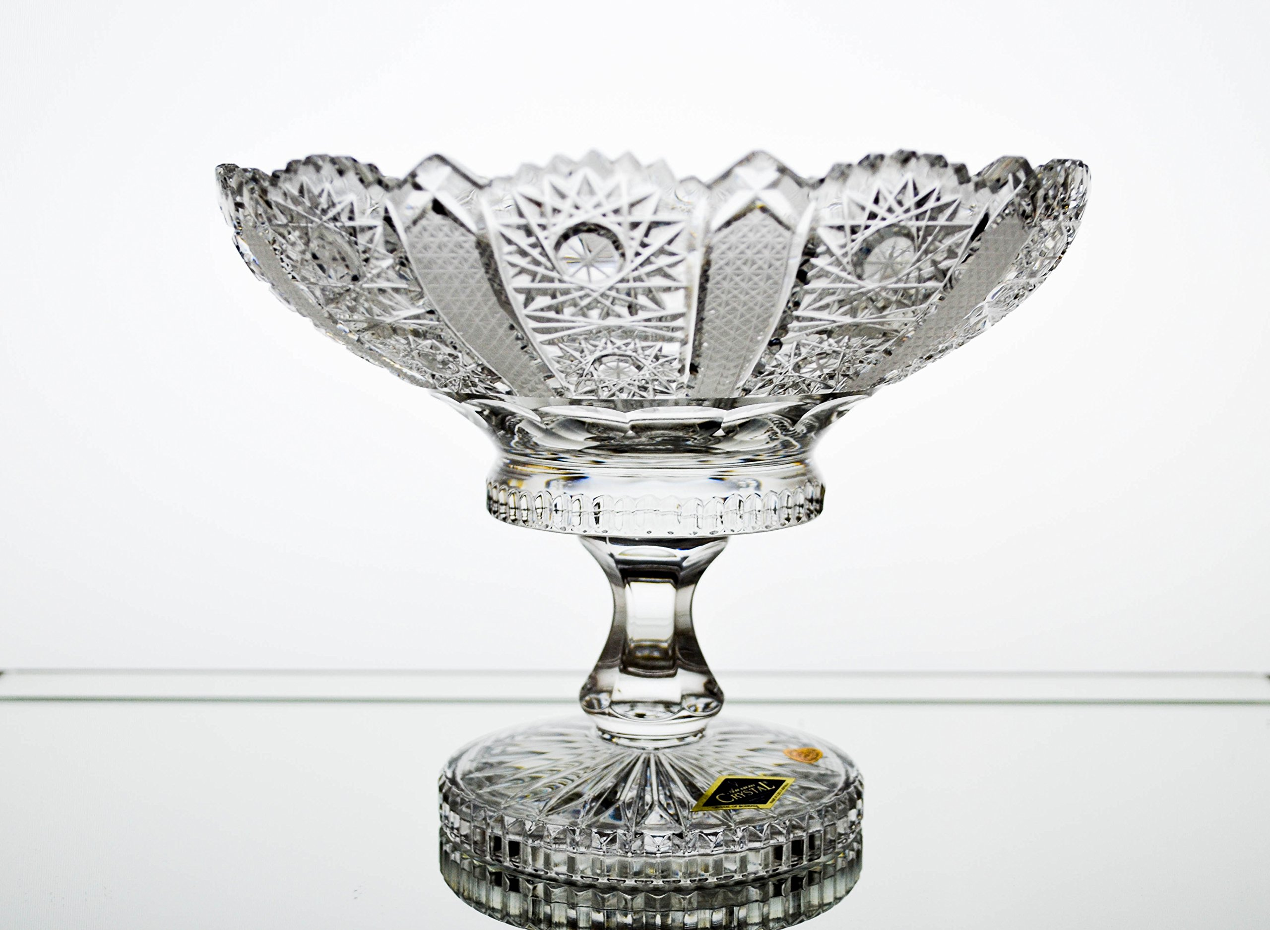 BOHEMIAN CRYSTAL GLASS FOOTED BOWL-VASE D-8'' DECORATIVE WEDDING GIFT HAND CUT CRYSTAL GLASS BOWL VINTAGE EUROPEAN DESIGN ELEGANT CENTERPIECE FRUITS DESSERTS CANDIES CLASSIC CZECH CRYSTAL GLASS