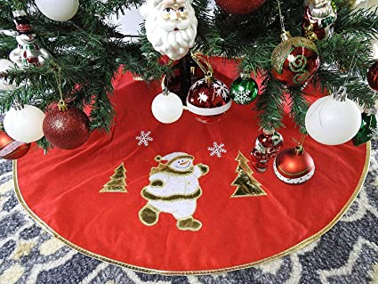 36 red non woven christmas tree skirt with snowman