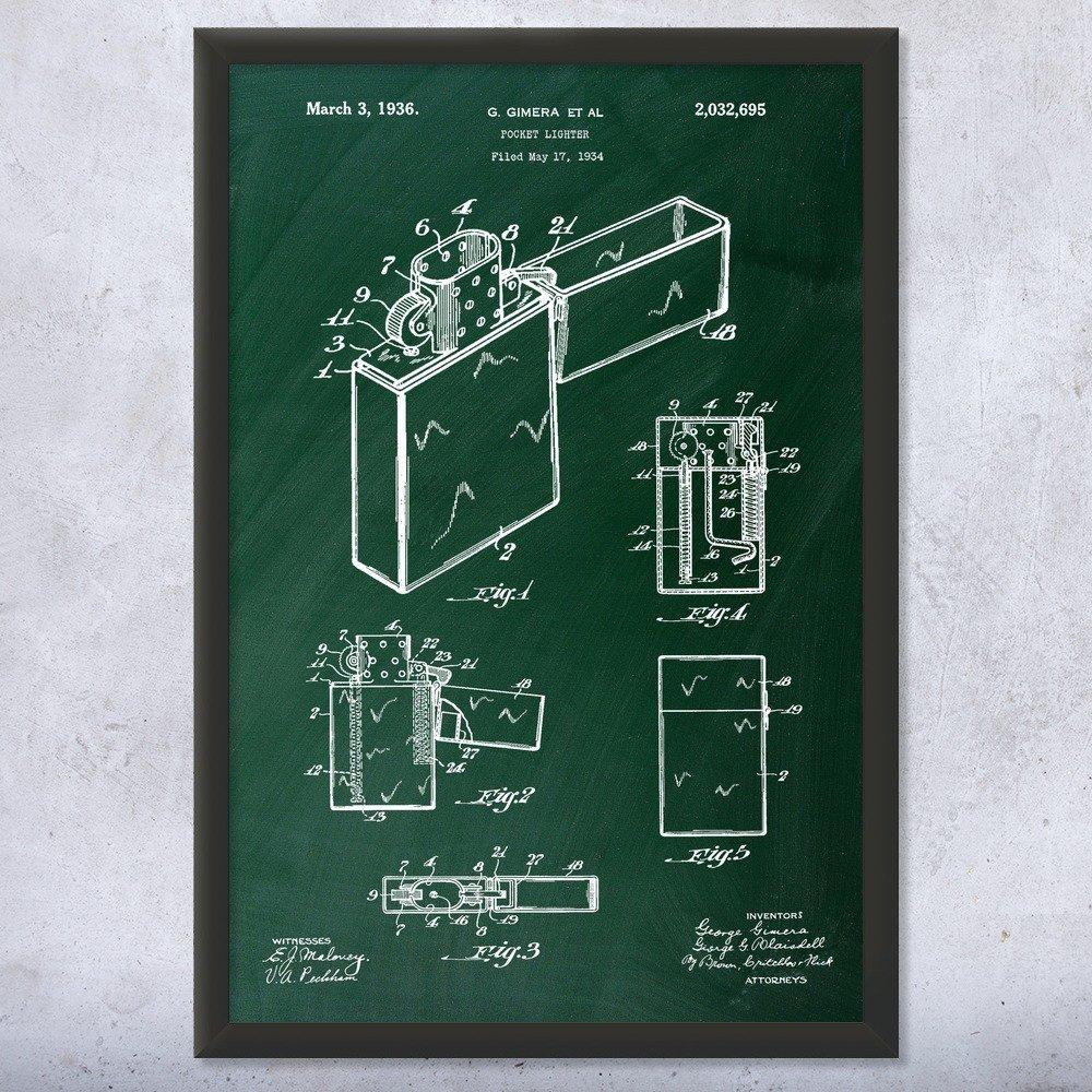 Framed Pocket Lighter Print, Cigar Room, Tobacco Aficionado, Smoke Shop, Smoking Gift, Wind Proof, Cigarrette Lighters Chalkboard (Green) (12'' x 16'')