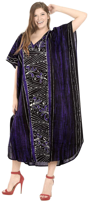 LA LEELA Womens One Size Kaftan Wedding Dresses Sleepwear Cover Ups Hand Batik