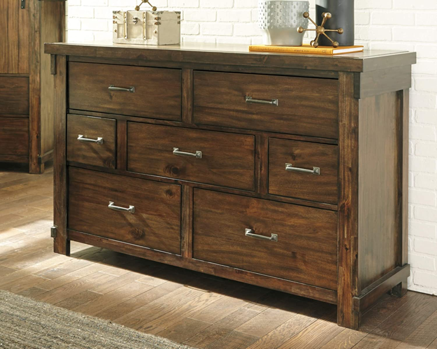 Ashley Furniture Signature Design – Lakeleigh Dresser – Casual – 7 Drawers – Rustic Brown Finish – Dark Zinc Hardware