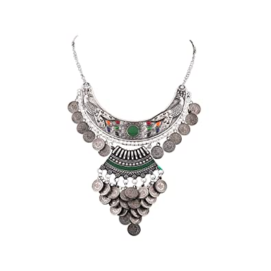 0acc7f312 Aradhya Afghani Designer Turkish Style Vintage Oxidised German Silver  Tribal Necklace Pandeant Antique Jewellery for Girls