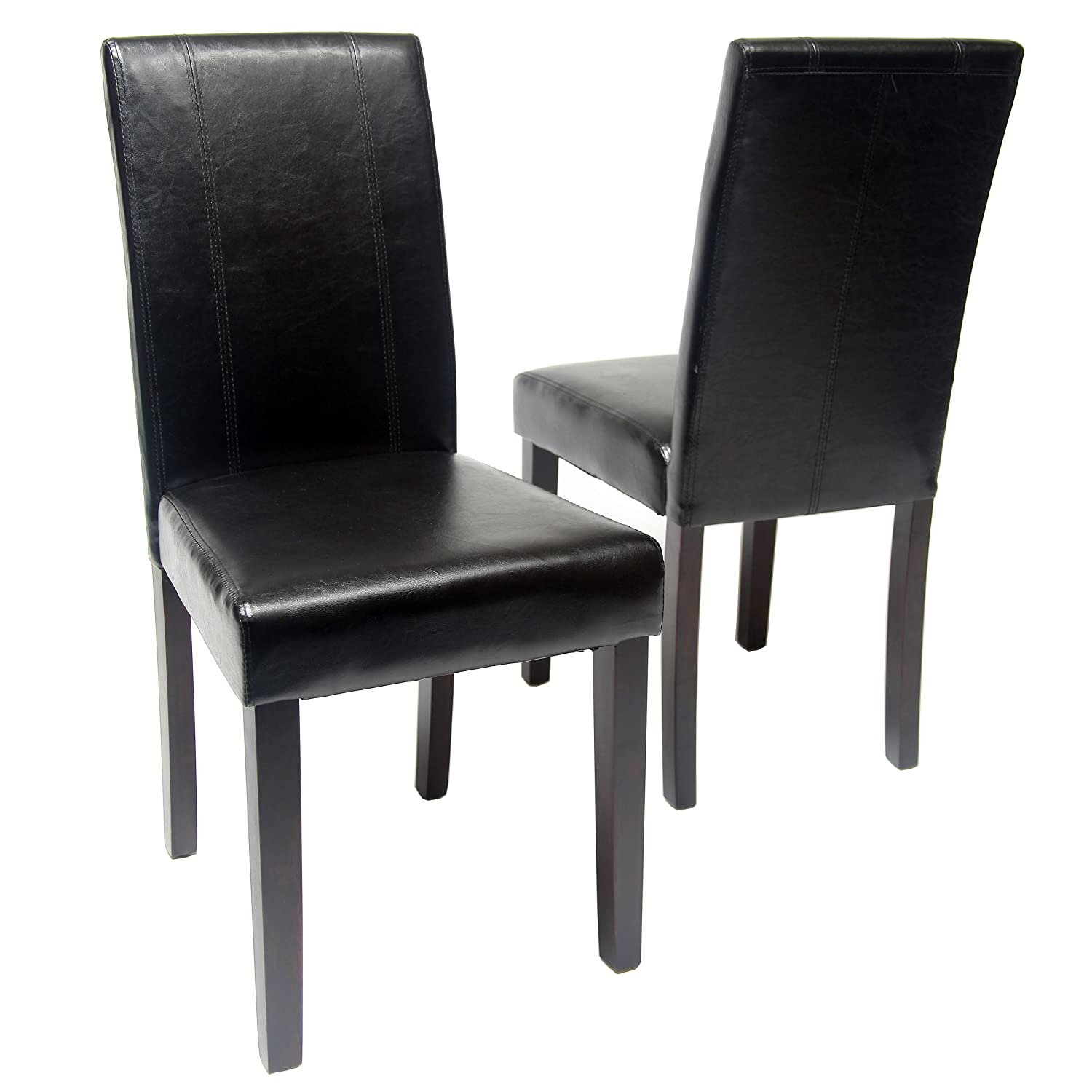 Amazon.com   Roundhill Furniture Urban Style Solid Wood Leatherette Padded  Parson Chair, Black, Set Of 2   Chairs