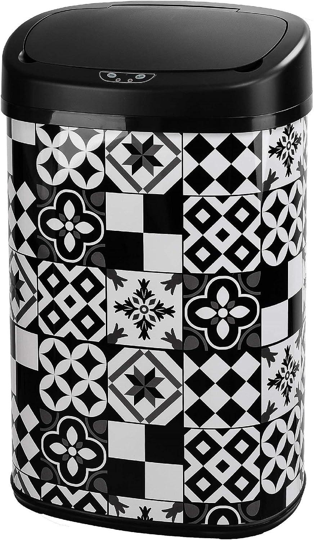 capacit/é de 23 litres imprim/é fabriqu/ée en Plastique polypropyl/ène TATAY Cubik Poubelle de Cuisine Vintage avec Ouverture /à p/édale 35,5 x 30 x 39 cm