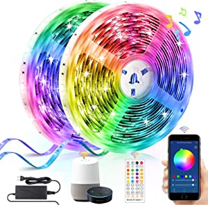 Alexa LED Strip Lights 65.6ft, LUMAND Smart WiFi RGB 5050 LEDs for Home Gym Living Room Bedroom Party Decoration Music Sync Color Changing Light Strips Works with Phone App and 40-Keys Remote Control