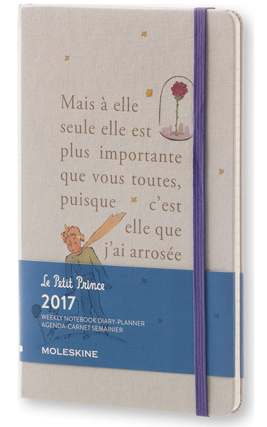 Moleskine 2017 Le Petit Prince Limited Edition Weekly Notebook, 12M, Large, Light Grey, Hard Cover (5 x 8.25)